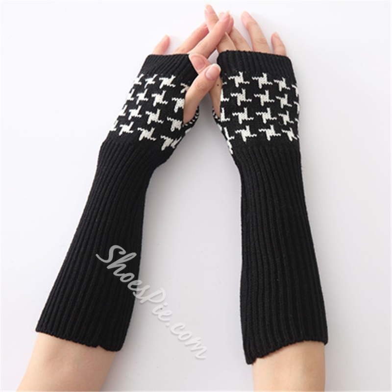 Acrylic Casual Houndstooth Spring Gloves