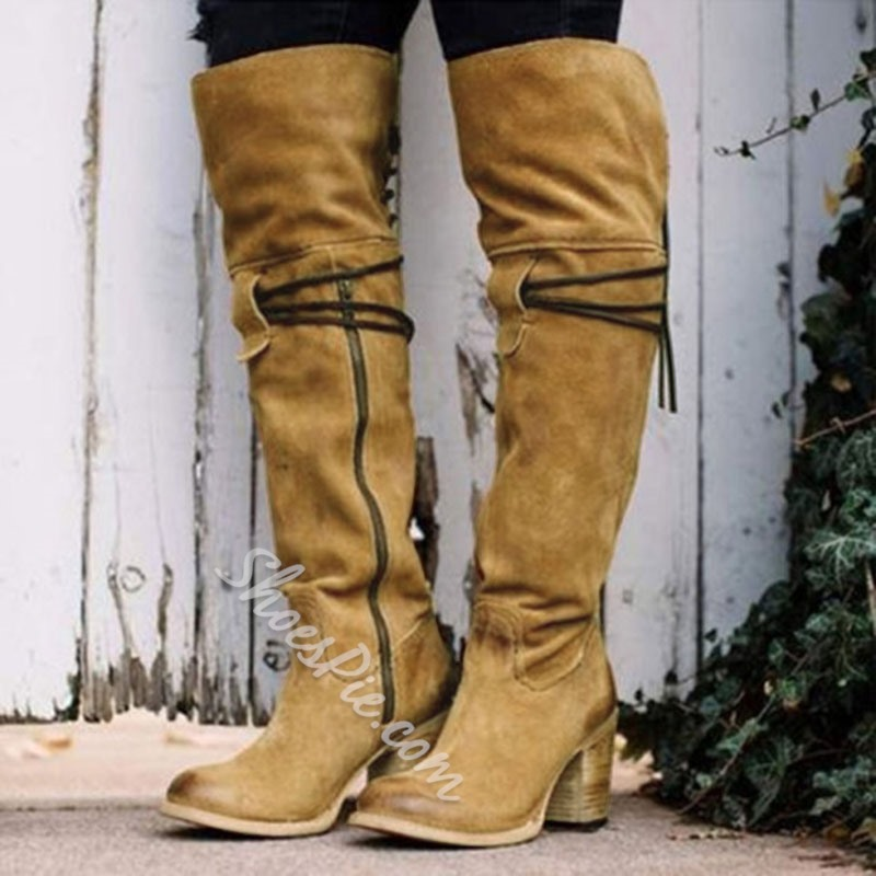 Shoespie Sexy Round Toe Side Zipper Chunky Heel Knee High Boots