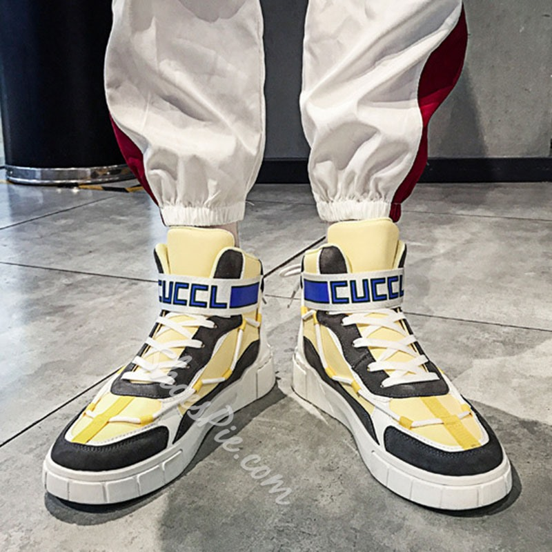 Shoespie Men's High-Cut Upper Lace-Up Patchwork Round Toe Skate Shoes