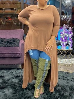 Casual Plus Size Round Neck Long Sleeve Women's T-Shirt