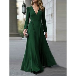 Floor-Length V-Neck Long Sleeve Expansion Women's Dress