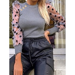 Gray Puff Sleeve Polka Dots Slim Women's Sweater
