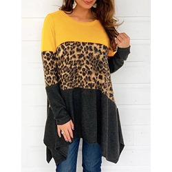 Leopard Yellow Casual Long Sleeve Mid-Length Loose Women's T-Shirt