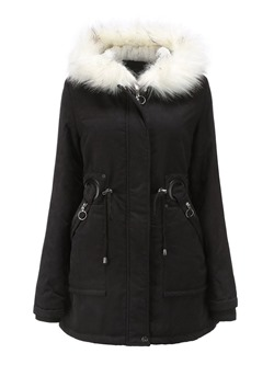 Zipper Straight Mid-Length Women's Cotton Padded Jacket