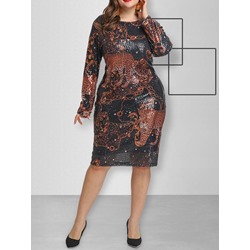 Mid-Calf Long Sleeve Sequins Casual Women's Dress