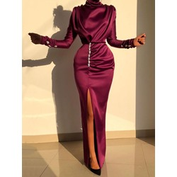 Turtleneck Long Sleeve Floor-Length Party/Cocktail Women's Dress