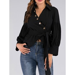 Lace-Up Office Lady Long Sleeve Women's Blouse