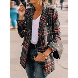 Plaid Straight Double-Breasted Regular Winter Women's Overcoat