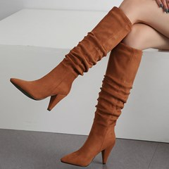 Shoespie Trendy Slip-On Pointed Toe Plain Boots
