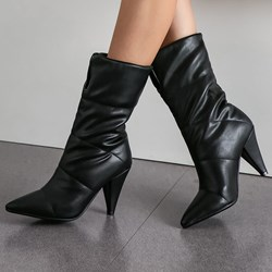 Shoespie Sexy Slip-On Pointed Toe Plain Thread Fashion Boots