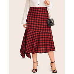 Plus Size Asymmetric A-Line Plaid Elegant Women's Skirt