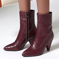 Shoespie Stylish Plain Side Zipper Pointed Toe Casual Boots