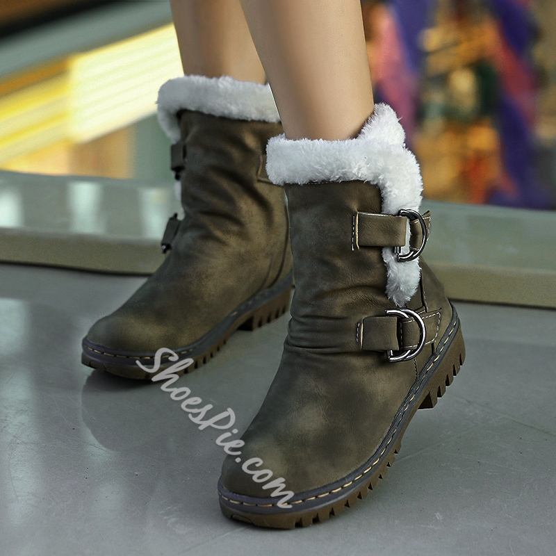 Shoespie Trendy Round Toe Hasp Casual Boots