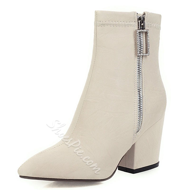 Shoespie Stylish Pointed Toe Chunky Heel Side Zipper Fashion Boots