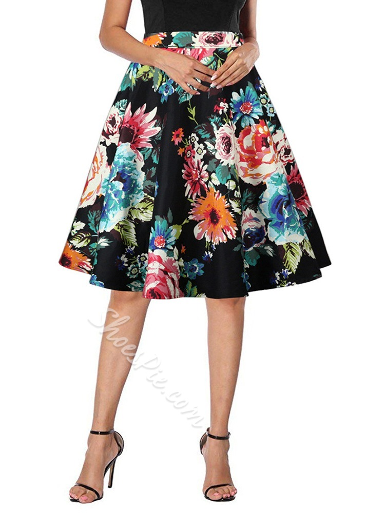 Plant Expansion Knee-Length Elegant Women's Skirt