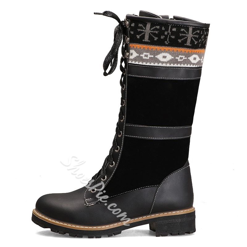 Shoespie Warm Lace Up Patchwork Knee High Boots