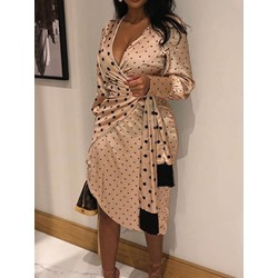 Long Sleeve Print Mid-Calf A-Line Women's Dress