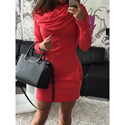 Long Sleeve Above Knee Plain Women's Dress