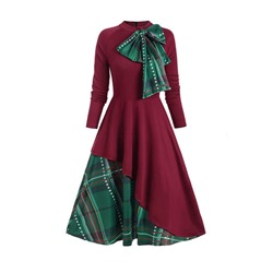 Mid-Calf Long Sleeve Patchwork Raglan Sleeve Women's Dress