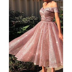 Sequins Short Sleeve Mid-Calf Mid Waist Women's Dress