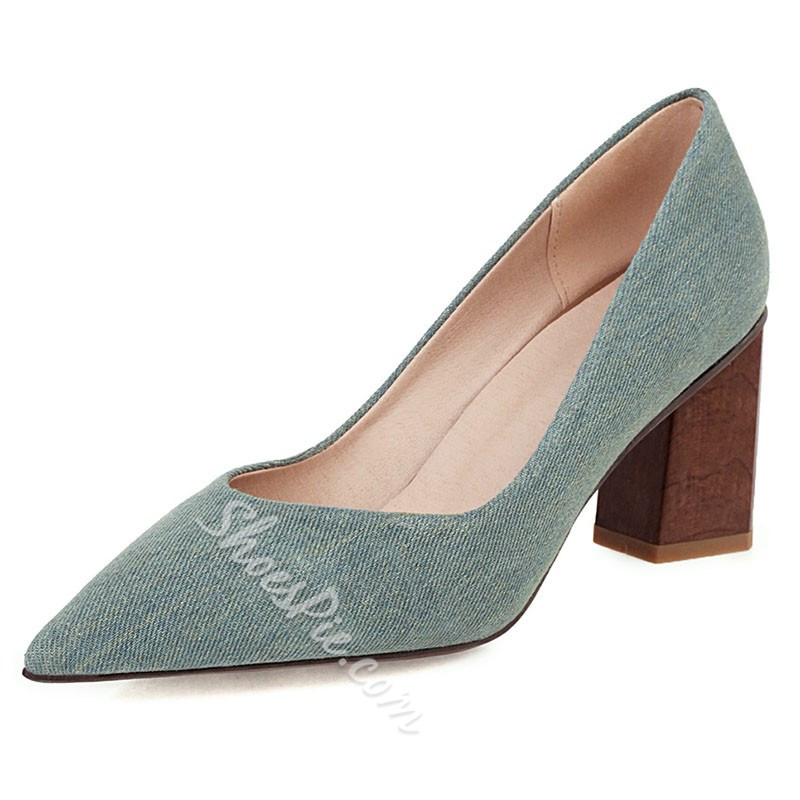 Shoespie Sexy Chunky Heel Slip-On Thread Plain Thin Shoes