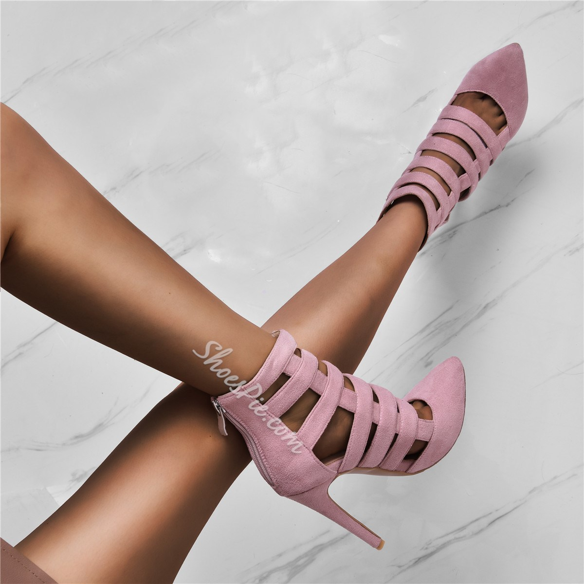 Shoespie Trendy Pointed Toe Zipper Ultra-High Heel Thin Shoes