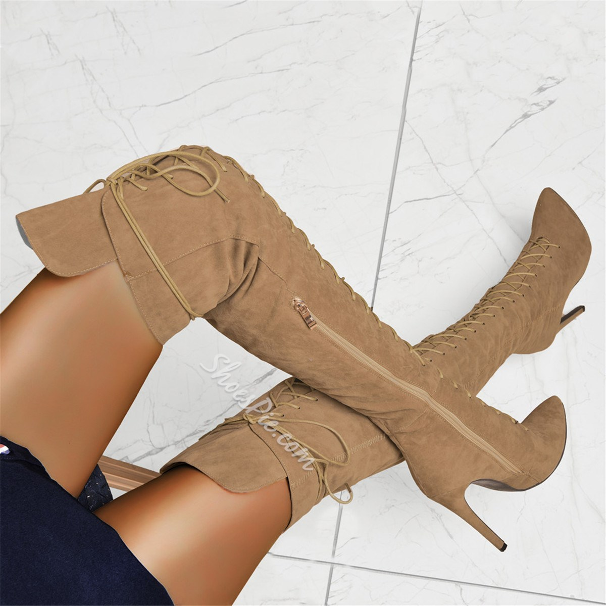 Shoespie Sexy Side Zipper Pointed Toe Cross Strap Boots