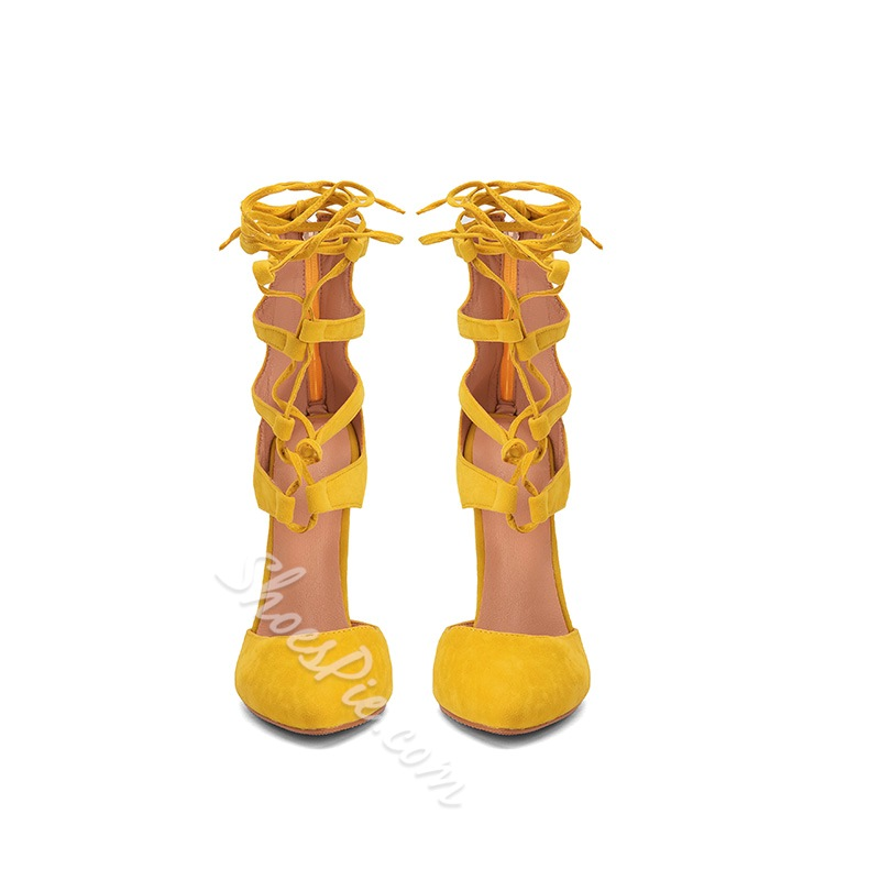 Shoespie Trendy Pointed Toe Lace-Up Sandals