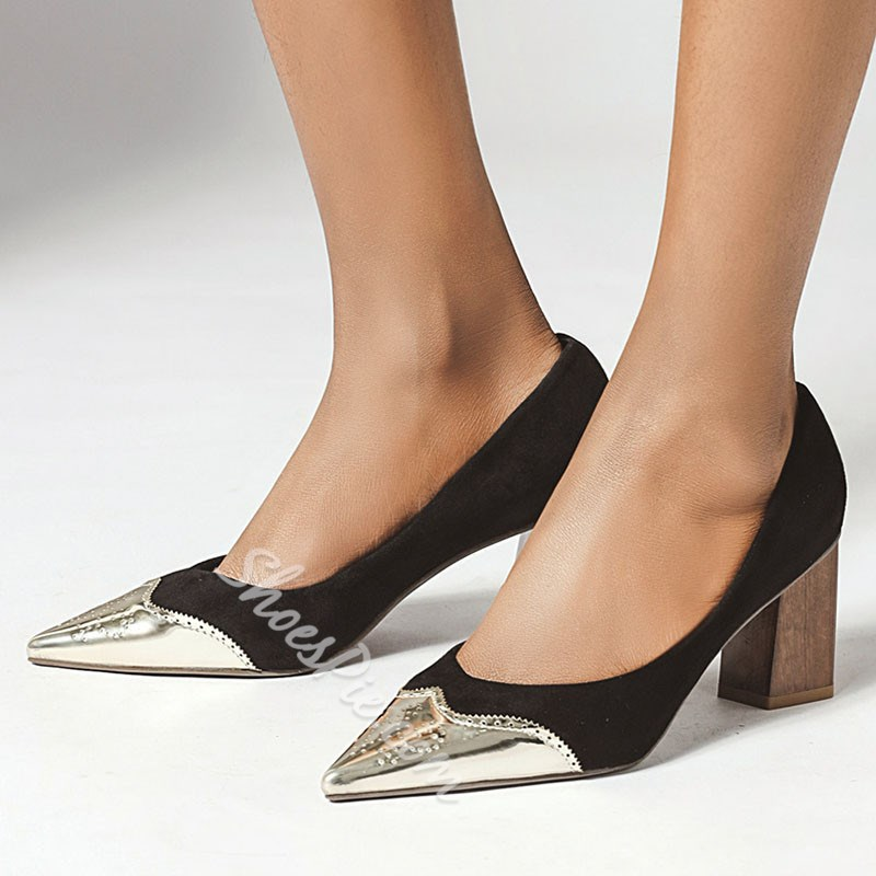 Shoespie Sexy Chunky Heel Thread Pointed Toe Low-Cut Upper Thin Shoes
