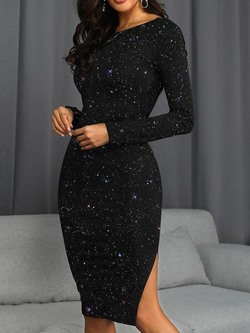 Sequins Knee-Length Round Neck Pullover Women's Dress