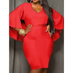 Plus Size V-Neck Three-Quarter Sleeve Knee-Length Fall Women's Dress
