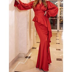 Asymmetric Long Sleeve Floor-Length V-Neck Lantern Sleeve Women's Dress