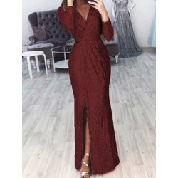 Split Floor-Length V-Neck Pullover Women's Dress