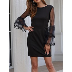 Above Knee Long Sleeve Round Neck Flare Sleeve Women's Dress
