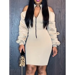 Long Sleeve Hollow Stand Collar Bodycon Women's Dress