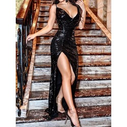 V-Neck Sleeveless Sequins Bodycon Women's Dress
