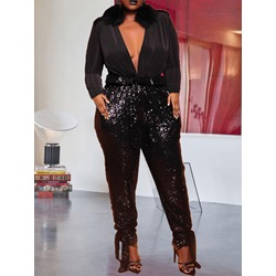 Plain Sequins Full Length Pencil Pants Women's Jumpsuit