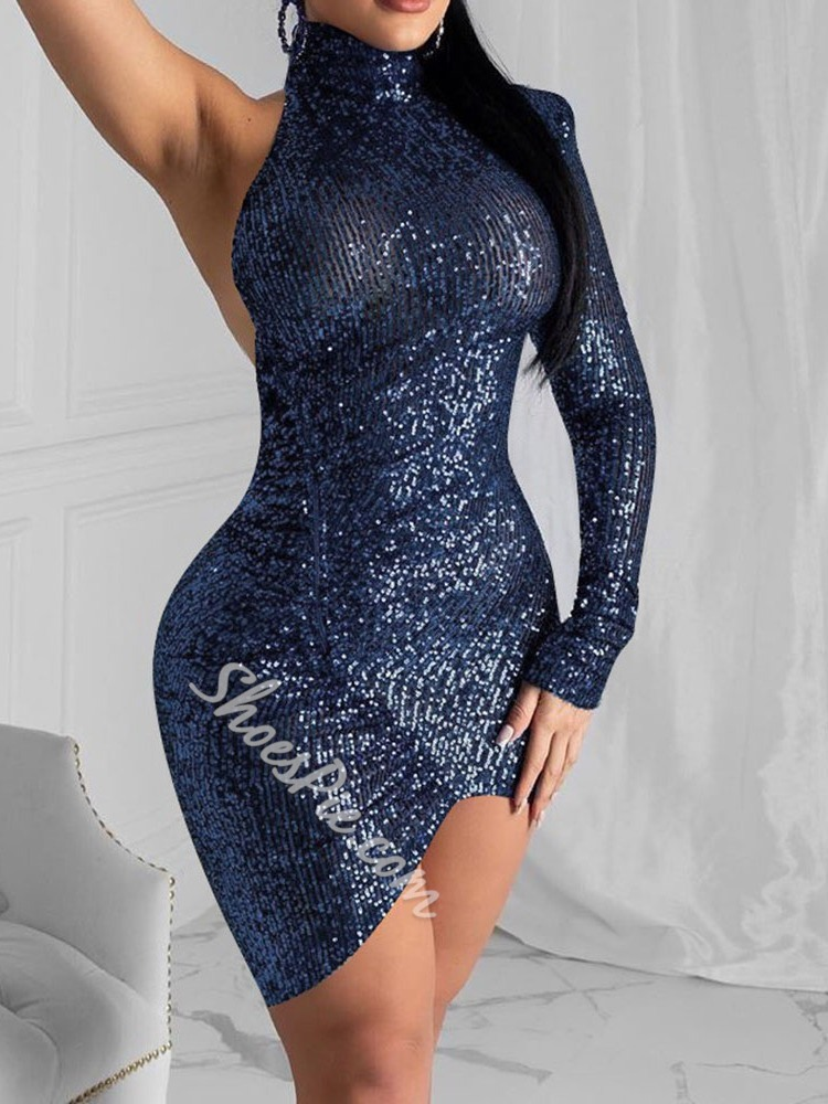 Turtleneck Backless Above Knee Sexy Women's Dress
