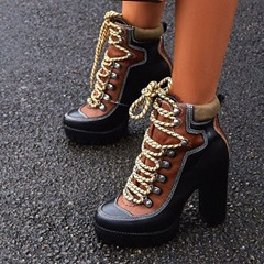 Shoespie Trendy Round Toe Lace-Up Front Color Block Platform Boots