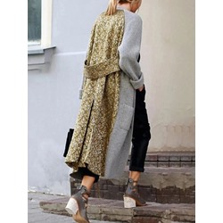 Loose Patchwork Regular Long Women's Overcoat