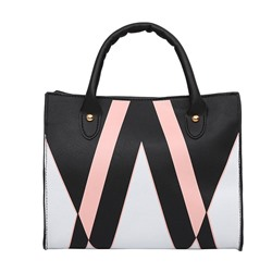 Shoespie Color Block PU Rectangle Tote Bags