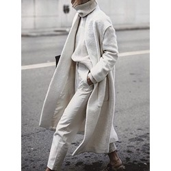 Pocket Loose Regular Long Women's Overcoat