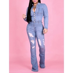 Casual Hole Full Length Slim Women's Jumpsuit