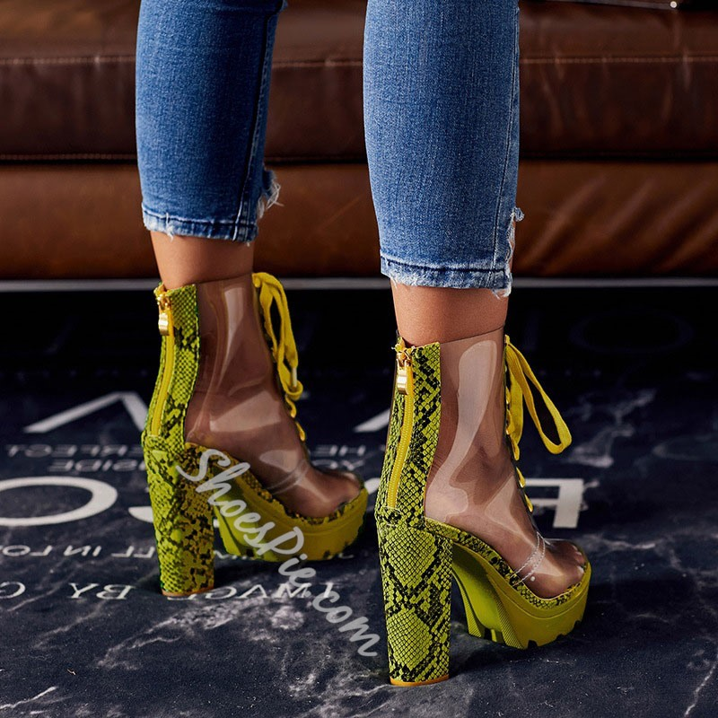 Shoespie Sexy Chunky Heel Color Block Round Toe Western Boots