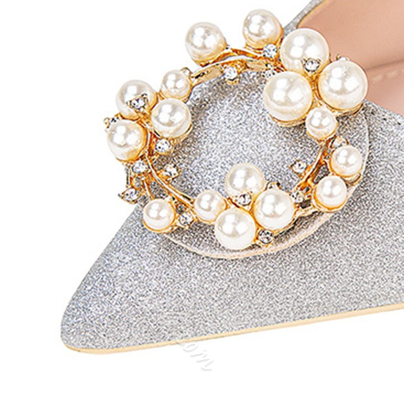 Shoespie Trendy Slip-On Pointed Toe Rhinestone Sweet Thin Shoes