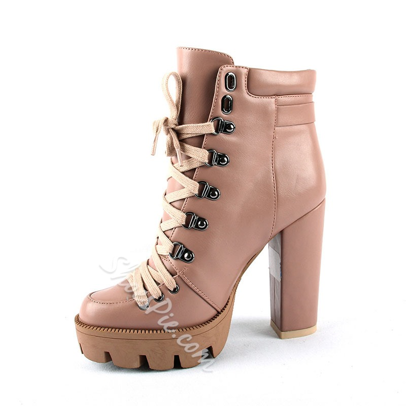 Shoespie Stylish Lace-Up Front Chunky Heel Plain Platform Boots