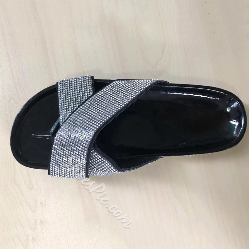 Shoespie Trendy Flat With Slip-On Cross Sexy Slippers