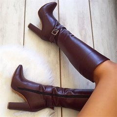 Shoespie Sexy Round Toe Side Zipper Fashion Knee High Boots