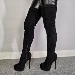 Shoespie Trendy Black Suede Round Toe Side Zipper Boots