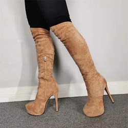 Shoespie Trendy Suede Side Zipper Round Toe Boots